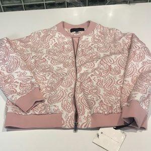 Victoria Beckham blush paisley bomber jacket